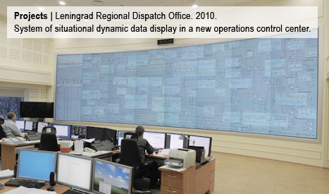 Leningrad Regional Dispatch Office. System of situational dynamic data display in a new operations control center. 2010.